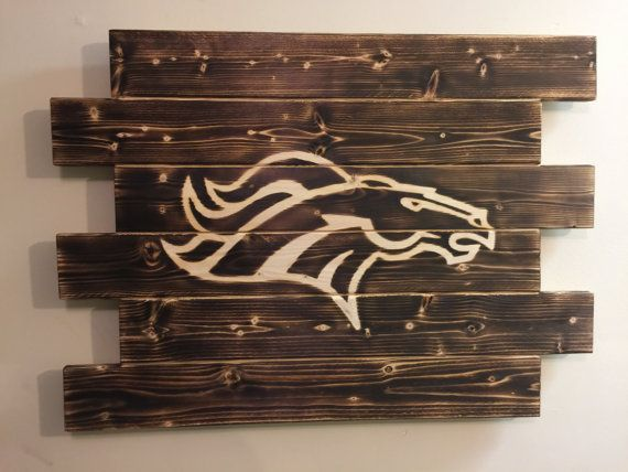 Denver Broncos football wood sign charred by MonogramedMemories