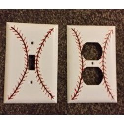 Light Switch Outlet Cover Baseball Hand Painted