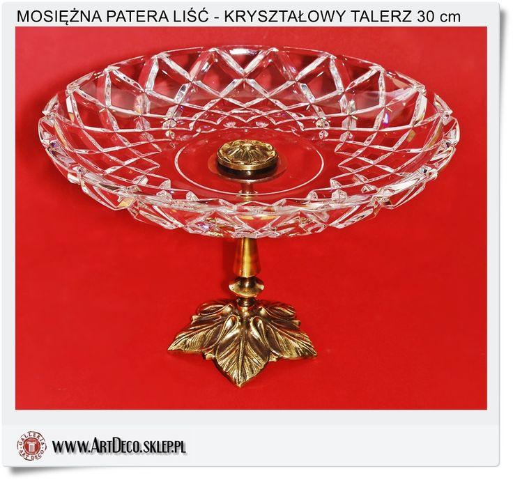 Rękodzieło polskiego rzemiosła Mosiężna patera z kryształowym talerzem