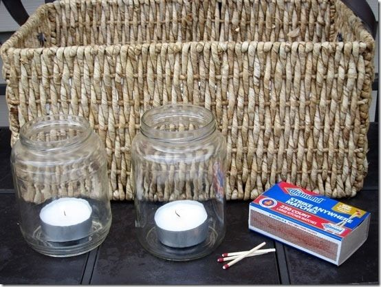 Put tea lights in cleaned-out pickle jars for budget-friendly mood lighting.