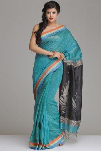 Gorgeous Turquoise Blue Matka Silk Saree With Black Ghicha Jamdani Pallu