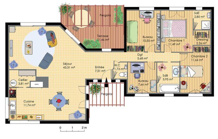Plan de maison en bois conçupar un architecte, avec terrasse et pergola, cuisine et séjour, deux bureaux, 2 chambres dont une suite parentale avec dressin