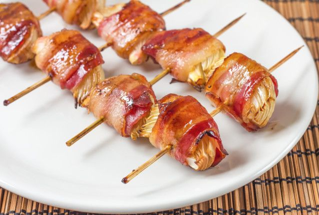 Bacon-Wrapped Onion Kabobs