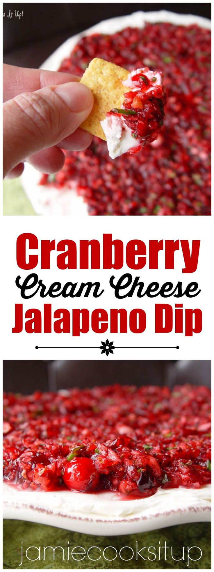 Cranberry Cream Cheese Jalapeno Dip. Yummy appetizer for Thanksgiving, Christmas. or any holiday!