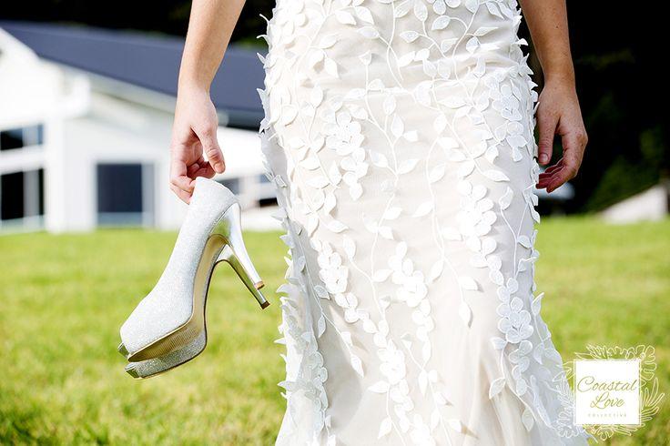 Gorgeous Wedding Shoes & Wedding Gown Detail www.coastallove.com.au