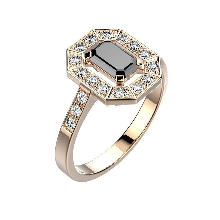 Agrandir Bague Gatsby - Or rose 18 cts, Spinelle noir et Diamants 1