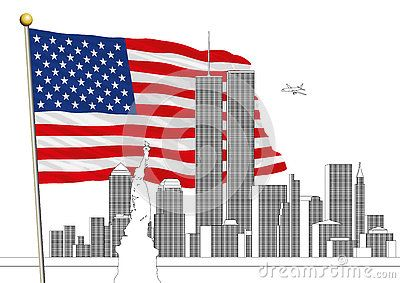 Vector file, illustration New York skyline and WTC Twin Towers more US flag