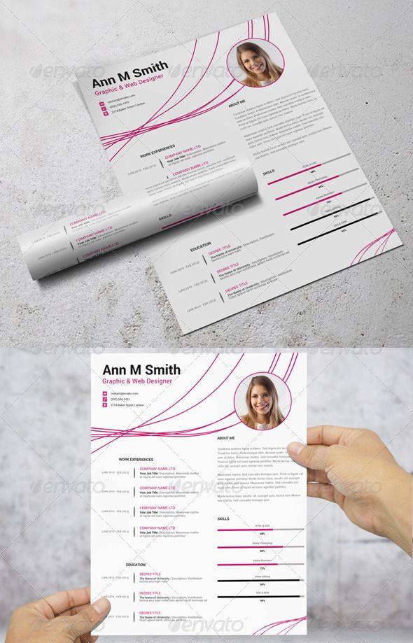 Simple ResumeCV u2014 Photoshop PSD pink modern