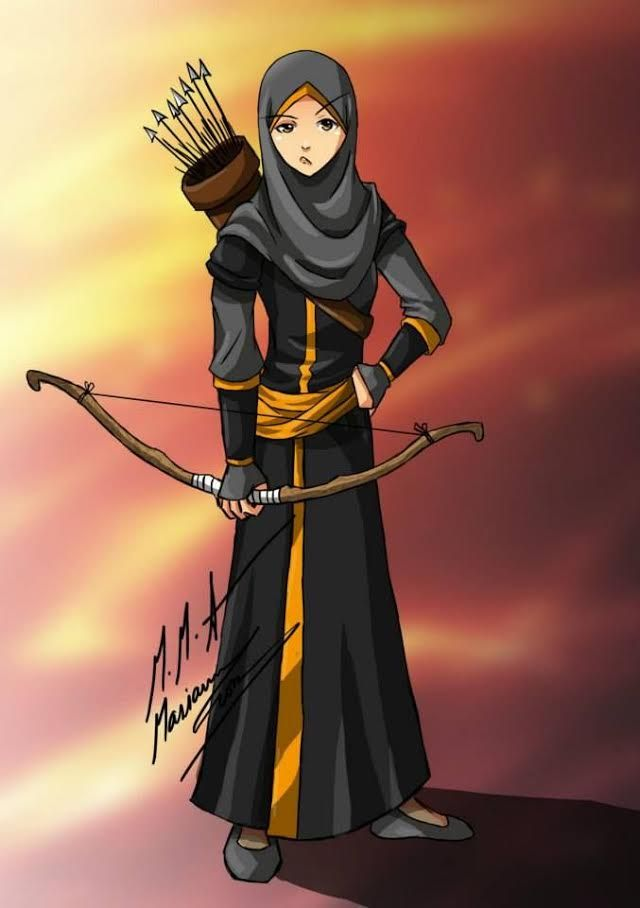 Wallpaper Cartoon Islamic Girl My First Arrow Hijabies Hijab Archery Arrow Well