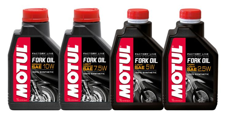 Motul Fork Oil - Factory Line. Grade 2.5W, 5W (60L available), 7.5W & 10W. Available in 1 & 60L.