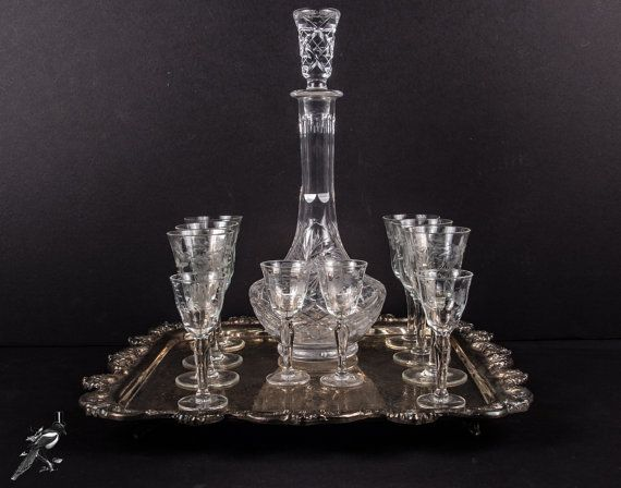 Vintage Barware Set: 6 Cordial / Sherry Glasses 4 Liquor Glasses Crystal Decanter & Stopper Square Silverplate Footed Tray Downton Abbey by TheCordialMagpie from Etsy. Find it now at http://ift.tt/2d6QNkA!