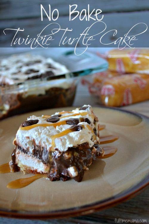 No Bake Twinkie Turtle Cake. Yummmmmm and so easy!