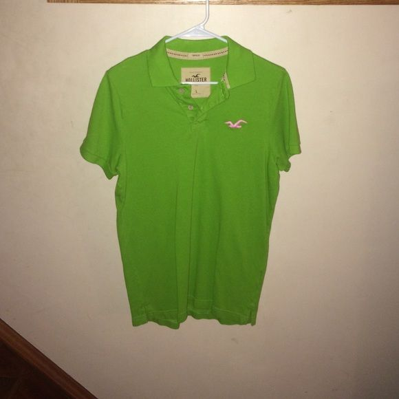 Hollister Mens Large Neon Green Polo Shirt Mens Green Hollister Neon Green Mens Large Polo shirt.gently worn looks new Hollister Tops Button Down Shirts