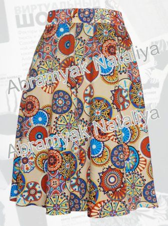 30$ Штапельная юбка полусолнце для полных девушек с цветным принтом-орнаментом Артикул 938, р50-64 Юбки модные большие размеры  Юбки летние большие размеры  Юбки стильные большие размеры Юбки полусолнце большие размеры Юбки креативные большие размеры  Юбки дизайнерские большие размеры