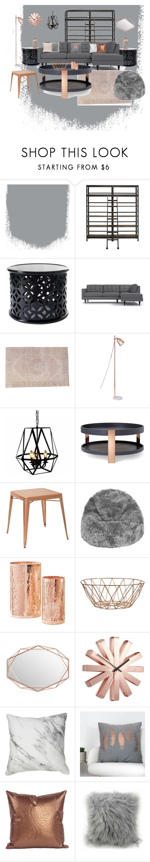 """Blush, Copper, and Gray Living Room"" by nforbes on Polyvore featuring interior, interiors, interior design, home, home decor, interior decorating, Adesso, Warehouse of Tiffany, Modern by Dwell Magazine and Office Star"
