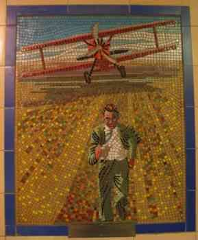 Mosaic in Leytonstone Station featuring Alfred Hitchcock's film North by Northwest