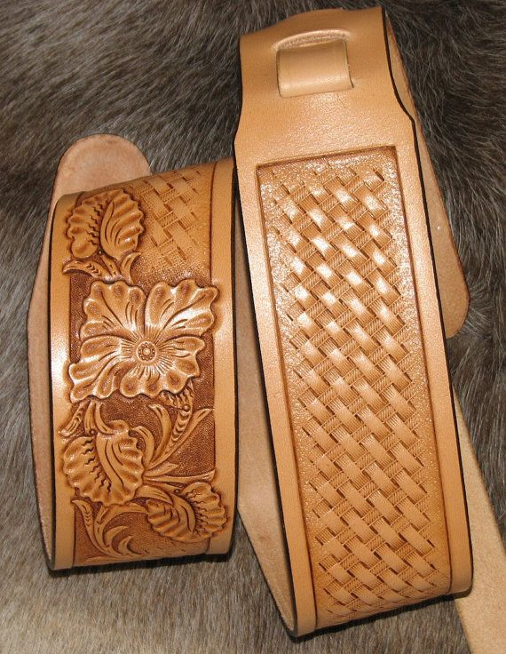Hand Carved Leather Guitar Strap with Western Floral Design and Basket Weave Stamped on Etsy, $90.00