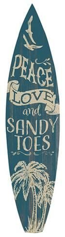 Peace Love And Sandy Toes Surfboard Plaque Wood Sign at AllPosters.com