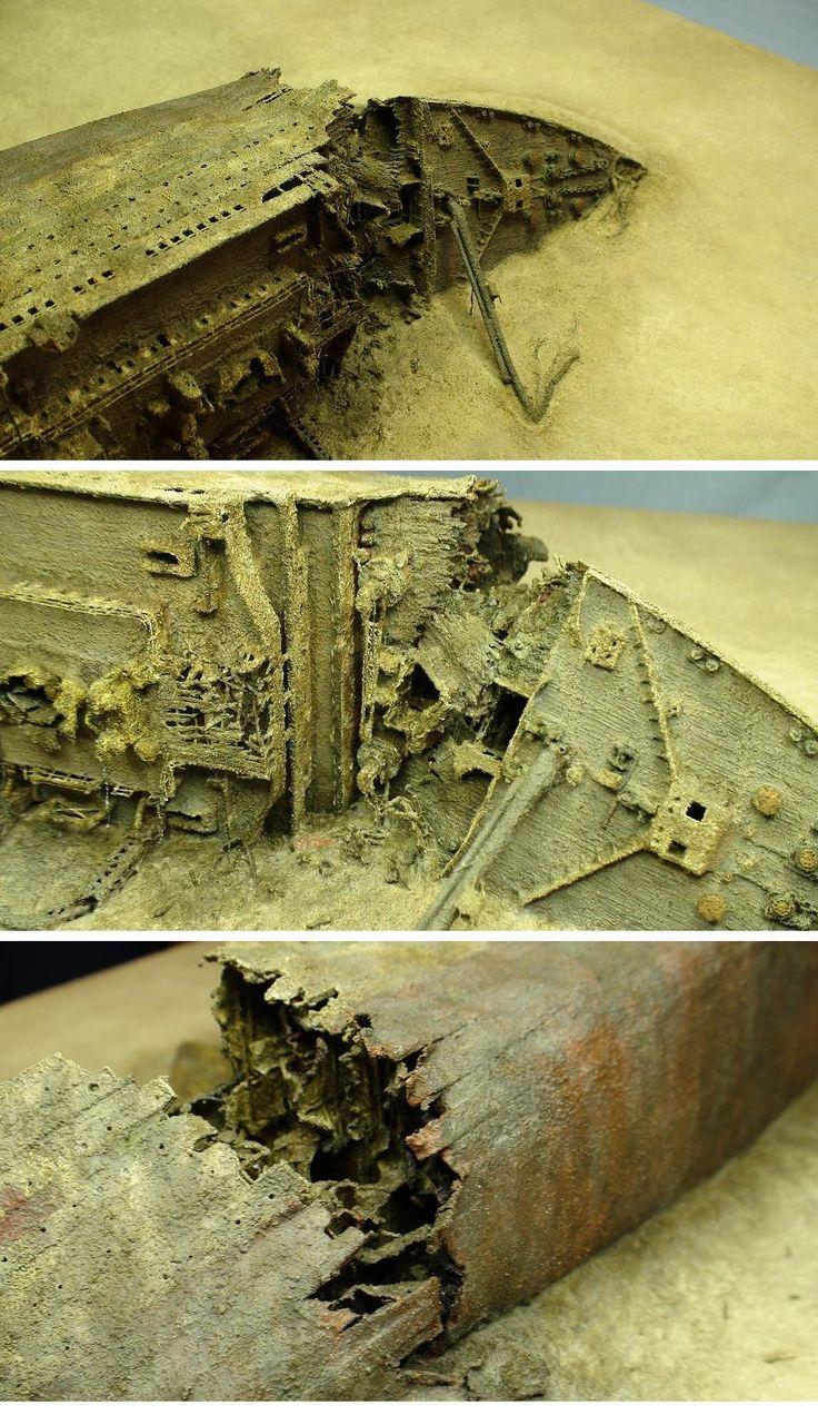 1/350 scales of HMHS Britannic wreck model FineScale