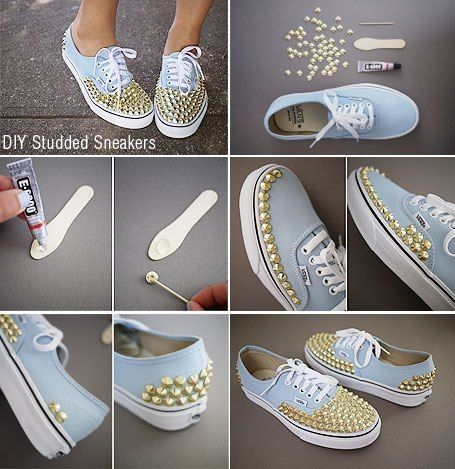 DIY Studded Vans Sneakers. Going to do this white rhinestones on a white pair, and ribbon shoelaces:) nobody steal that til I'm finished!