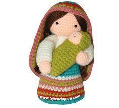 Virgen María y Niño Jesús Amigurumi - Patrón Gratis en Español y con Videotutorial aquí: http://www.tejiendoperu.com/navidad/virgen-mar%C3%ADa-y-ni%C3%B1o-jesus-a-crochet/