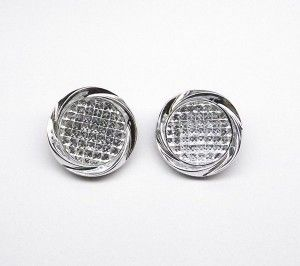 Silver Acrylic Clip On Earrings