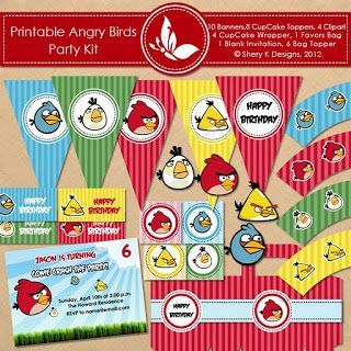 Click here to download a FREE Angry Birds Birthday kit! Complete with 9 Banners, 8 CupCake Toppers, 4 Clipart,  4 CupCake Wrapper, 1 Favors Bag, 1 Blank Invitation, 6 Bag Topper, 2 Fonts, and 4 Printable Digital Papers.
