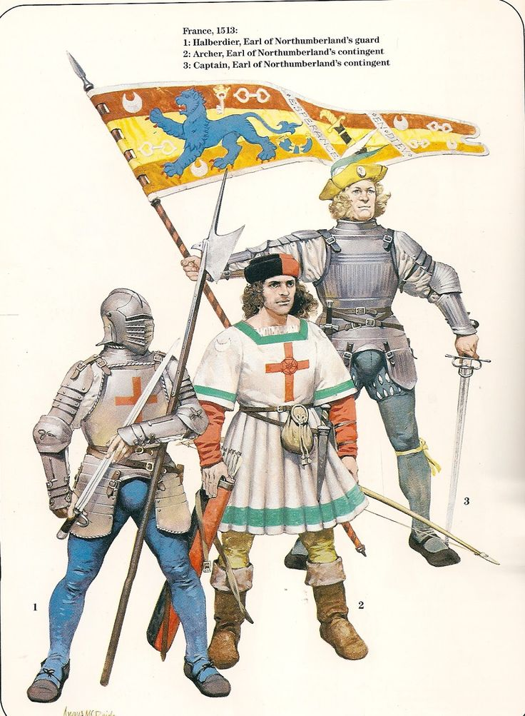 English;In France 1513 L to R Halbadier, Earl of Northumberland's Guard, Archer Earl of Northumberland's Contingent & Captain Earl of Northumberland's Contingent with the Earl of Northumberland's Standard(showing the Blue Lion of the Percys)