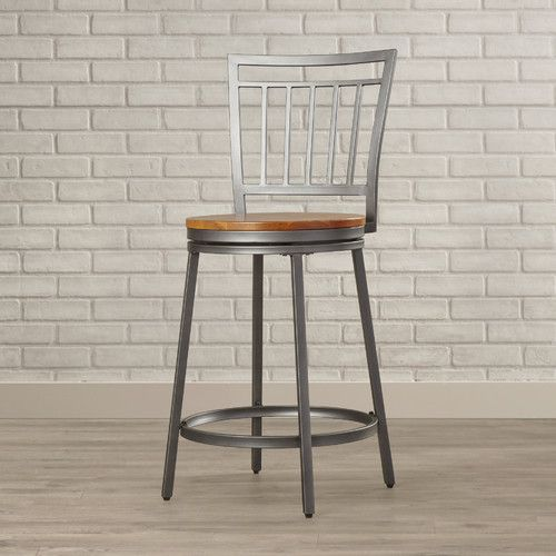 Features:  -Slate grey with golden oak seat.  -Metal construction.  -360° Swivel.  Frame Material: -Metal.  Frame Finish: -Slate Grey.  Seat Material: -Wood.  Style (Old): -Industrial/Contemporary.  S