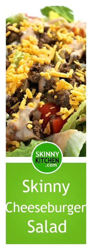 Skinny Cheeseburger Salad. Here's a yummy spin on the classic cheeseburger Each large, main course salad has 242 calories, 9g fat & 5 Weight Watchers SmartPoints. http://www.skinnykitchen.com/recipes/skinny-cheeseburger-salad/