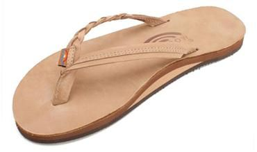 Flirty Braidy - Single Layer Premier Leather with Arch Support with a Braided Strap, Sierra Brown