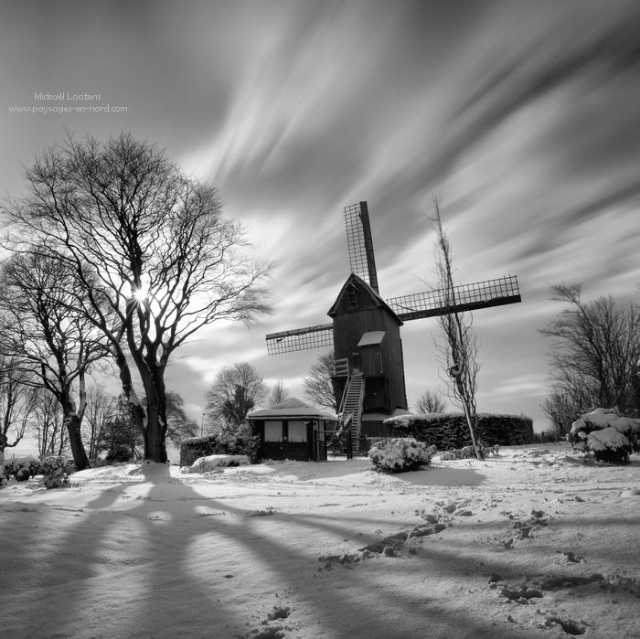 Le moulin blanc. The windmill on the top of the mount Cassel on the North of France in winter mood.