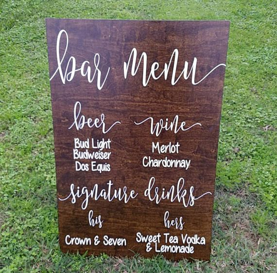 Wedding Bar Menu Wedding Bar Sign Wooden Bar by DownYonderDecals