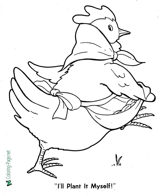 Fairy Tales Little Red Hen Coloring Pages Red Hen Little Red Hen Activities Little Red