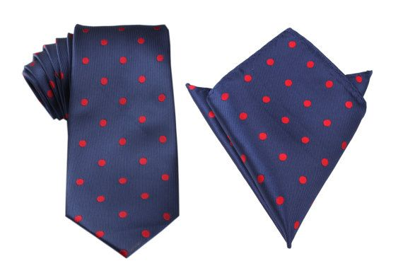 Matching Necktie  Pocket Square Combo Navy Blue with Red by OTAA, $43.95