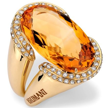 "Rosamaria G Frangini | High Jewellery Classic | MyColorfulJewellery | TJS | Brumani Citrine, Diamond and Gold ""Windsor"" Ring"