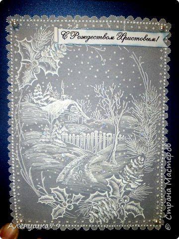 Картина панно рисунок Открытка Новый год Рождество Пергамано Новые работы в технике пергамано Бумага фото 1