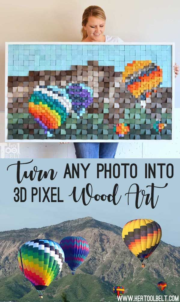 DIY Woodworking Ideas Easily turn any photo into 3D pixel wood art with photoshop elements. Great way ...