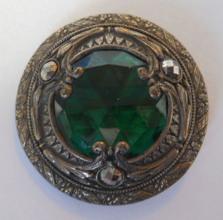 LARGE ANTIQUE GAY 90's BUTTON GREEN GLASS JEWEL, SILVERED BRASS, CUT STEELS