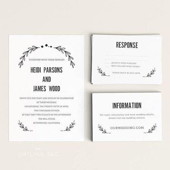 Wedding Invitation Printable Set  Floral Garden  by INKKprint