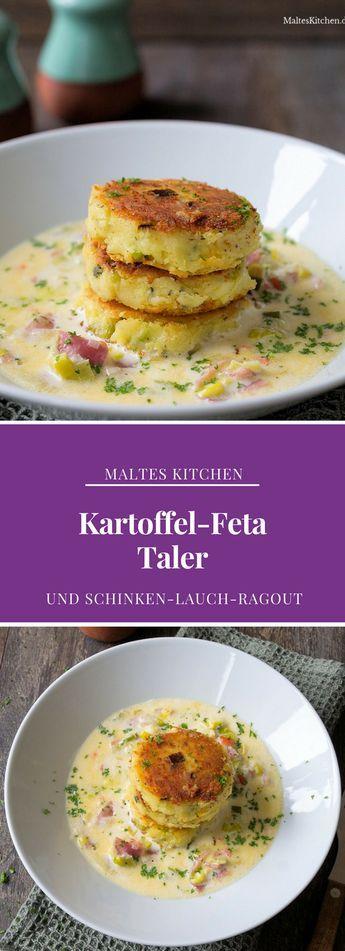 Kartoffel-Feta-Taler mit Schinken-Lauch-Ragout | #Rezept von malteskitchen.de