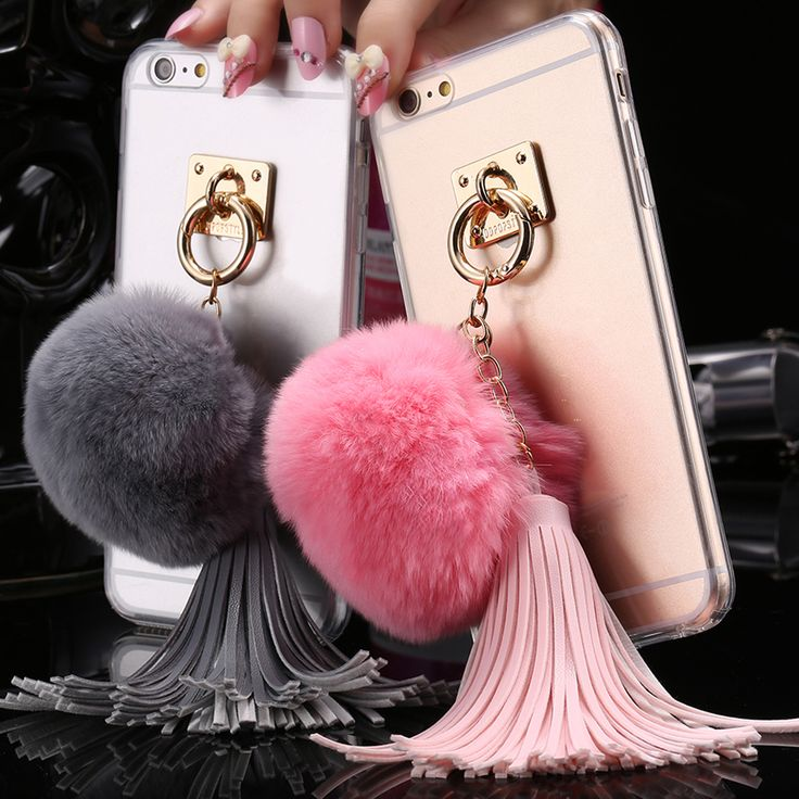Sexy Clear Case For iPhone 6 6S For iPhone 6 Plus 6S Plus SE 5 5S Shell Ring Stand Rabbit Fur Hair Ball Tassel Transparent Cover
