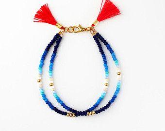 Beaded Bracelet Friendship Jewelry Tassel by feltlikepaper on Etsy