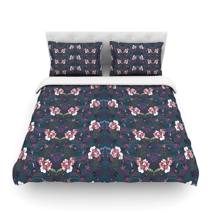 "DLKG Design ""Cool Stitch"" Purple Navy Cotton Duvet Cover from KESS InHouse"