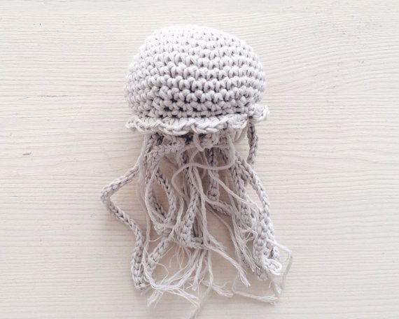 White crochet jellyfish fibre art aimugurumi crochet home decor housewarming gift baby love Crochet home decor pinterest