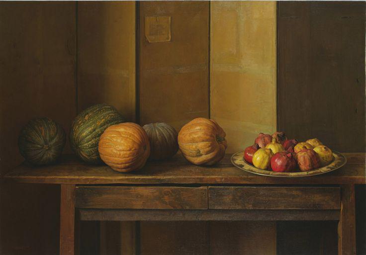 Granadas y Calabazas / Pomegranates and Pumpkins [1996] Óleo sobre tela / Oil on canvas 120,7 x 169,9 cm / 47 1/2 x 66 7/8 in  ClaudioBravo.com #ClaudioBravoCamus #ClaudioBravo