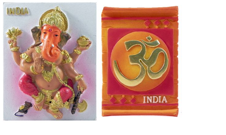 Ganesha and Om - Set of Two Magnets (Poly Resin)