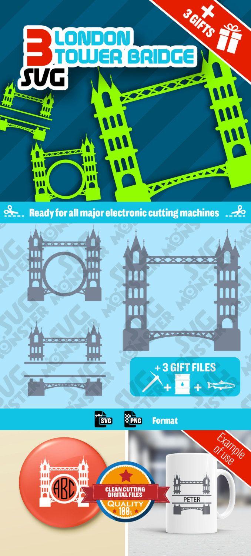 3 SVG TOWER BRIDGE Svg London • Cut Files for Electronic Vinyl Cutter • png • Cricut Design Space, Silhouette England Gb  Monument • 027 de la boutique SVGmonster sur Etsy