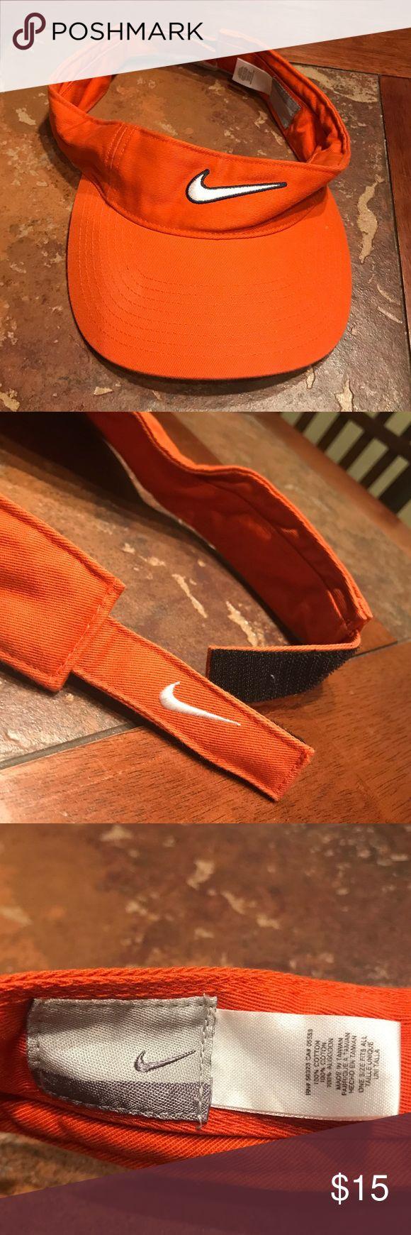 Orange NIKE visor All orange with white Nike symbols Velcro in the back Nike Accessories Hats