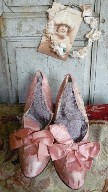 antieke roze schoenen victorian shoes